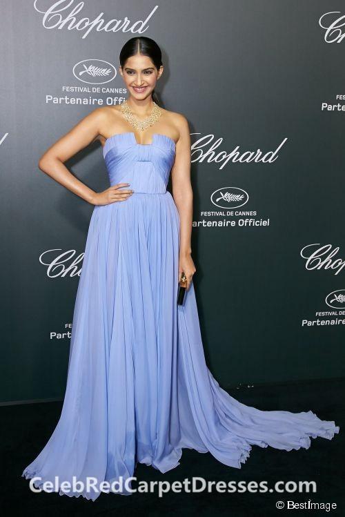 Sonam Kapoor Blue Strapless Chiffon Dress Cannes 2014 Red Carpet