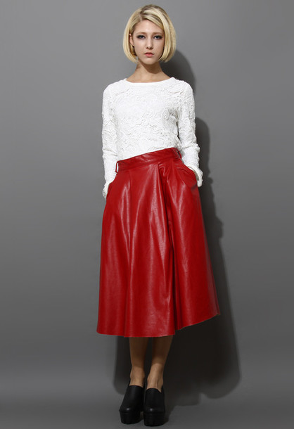 Skirt: faux leather, a-line, midi skirt, red - Wheretoget