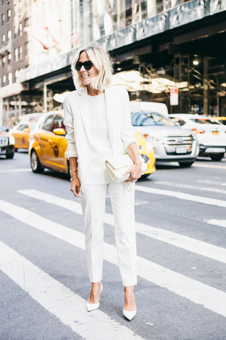 damsel in dior blogger office outfits classy all white everything white blazer white pants white bag