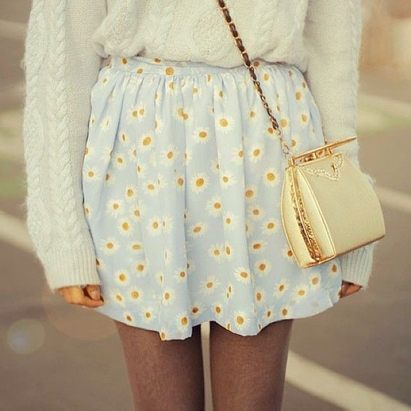 skirt daisy blue yellow white bag sunflower baby blue dress gold style fashion light cute spring skirt blue skirt floral daisy lovely flower pattern sweater daisy skirt shirt purse light blue girly knitted sweater white sweater floral skirt skater skirt