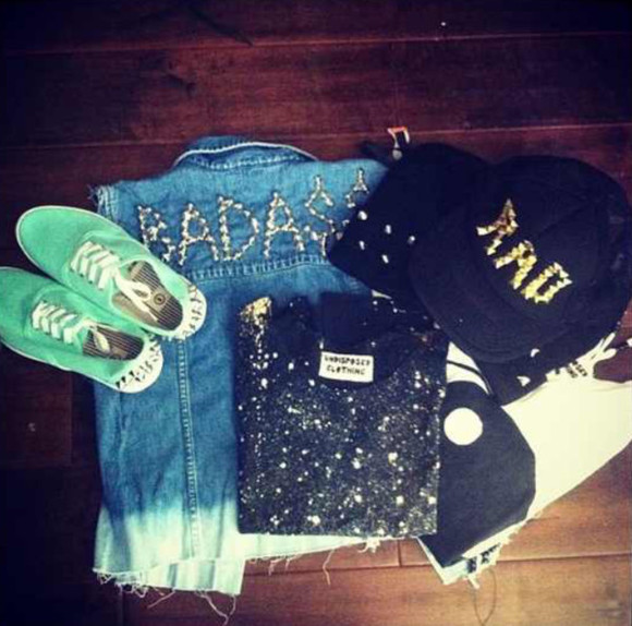 shoes shirt sweater denim vest beanie snapback studs