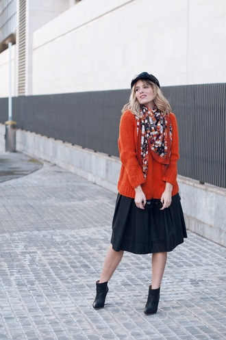 macarenagea blogger sweater skirt shoes bag fisherman cap orange sweater ankle boots winter outfits