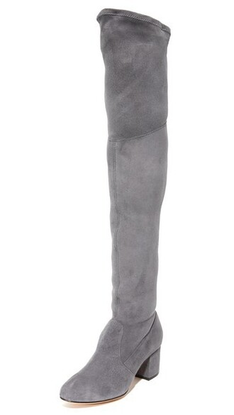 over the knee boots grey shoes