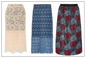 portable package blogger lace skirt floral skirt