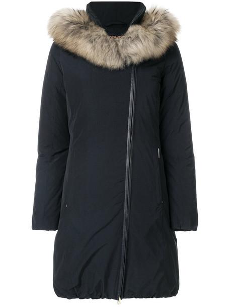 coat parka fur women blue