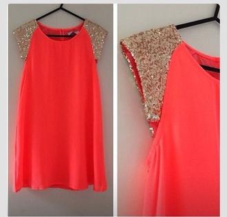 blouse orange blouse sparkles leaves gold sequins