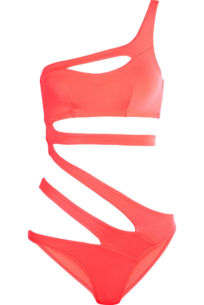 professional sale 100% high quality discount Agent Provocateur Lexxi Cutout One-Shoulder Swimsuit in coral