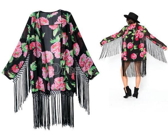 Black/pink floral tassel light weight kimono