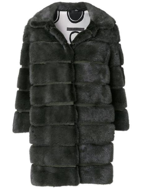SIMONETTA RAVIZZA coat fur women silk green