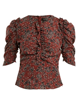 top ruffle floral print silk burgundy