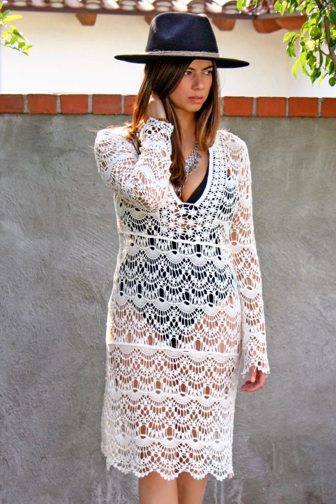 Oasis crochet knee length dress