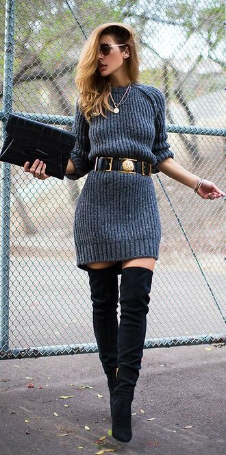 dress sweater long sleeves boots black suede leather snake grey gold belt shades glasses ring fashion chunky streetstyle style street sweater dress thigh highs thigh high boots crocodile clutch fall outfits gold chain blonde hair jewelry waist belt hair bracelets knecklace classy urban