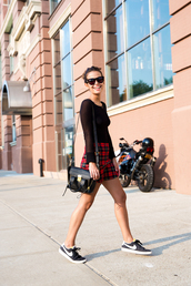 collage vintage,t-shirt,skirt,bag,shoes,sunglasses,blouse,sweater,pashli,phillip lim,mini satchel bag,phillip lim satchel,black satchel,nike shoes,nike sneakers,black nike shoes,streetstyle,black sunglasses,short skirt,plaid skirt,tartan skirt,black t-shirt
