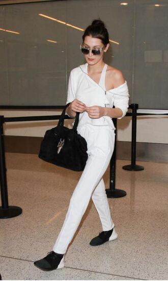 pants top sweatpants white sweatshirt bella hadid sneakers purse sunglasses shoes