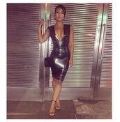 dress,christina milian,instagram,bodycon dress,plunge dress,sexy dress,NY Fashion Week 2016