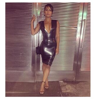 dress christina milian instagram bodycon dress plunge dress sexy dress ny fashion week 2016