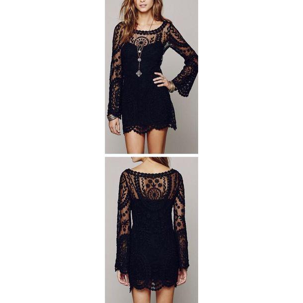 dress boho black dress boho dress short black dress summer dress crochet dress black bohemian lace