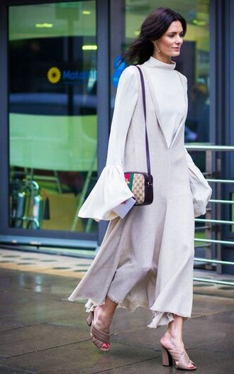 shoes frayed dress gucci mules mules nude shoes gucci gucci shoes dress nude dress v neck dress plunge v neck maxi dress top bell sleeves white top bag gucci bag