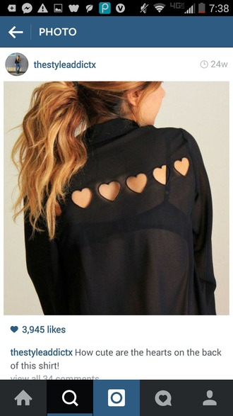 blouse black heart cute black blouse & hearts