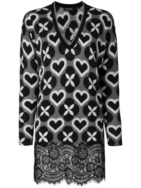top tunic women lace wool grey