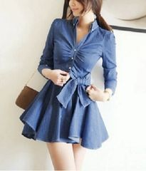 Denim flare dress