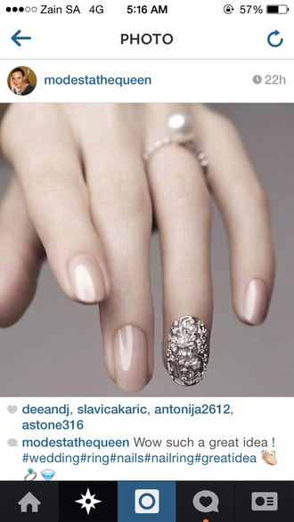 jewels pearl nail armour finger nail ring goregous silver
