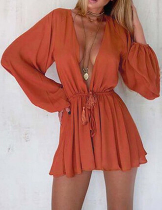 romper jumpsuit orange red cute dress plunge neckline v neck