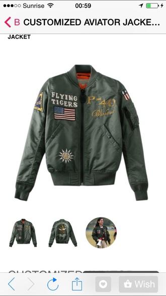 jacket flying tigers bomber jacket green jacket military green