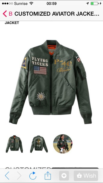 jacket flying tigers bomber jacket green jacket army green