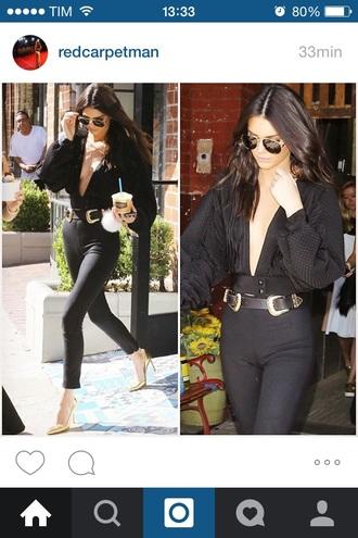 blouse black kendall jenner fashion
