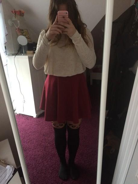 tights panda skirt blouse