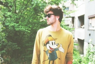 sweater shirt t-shirt yellow mickey mouse nature new hipster menswear mens sweater