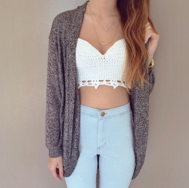 coat necklace cardigan high waisted jeans top high waisted jeans crop tops pretty women tank top lace top crochet top sexy top summer top grey cardigan light blue jeans shirts jeans blouse