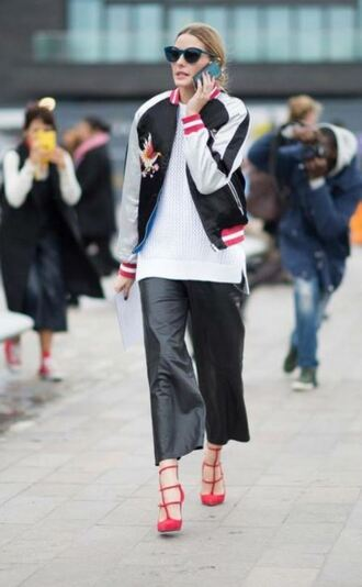 pants pumps fashion week 2016 streetstyle olivia palermo blogger jacket london fashion week 2016 knitted top white white top mesh mesh top celebrity celebrity style bomber jacket black bomber jacket leather pants red heels black and white satin bomber blue sunglasses white sweater sweater culottes palazzo pants black pants black leather pants celebrity work outfits leather culottes