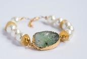 jewels,bracelets,stone,stone jewelry,stone bracelet,druzy bracelet,green druzy,white bracelet,statement bracelet,gold dipped,gold bracelet,jewelry,boho jewelry,boho,bohemian,raw stone,shell,pearl,white