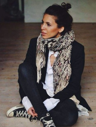 scarf scarf accessories geometric black and white pantherprint