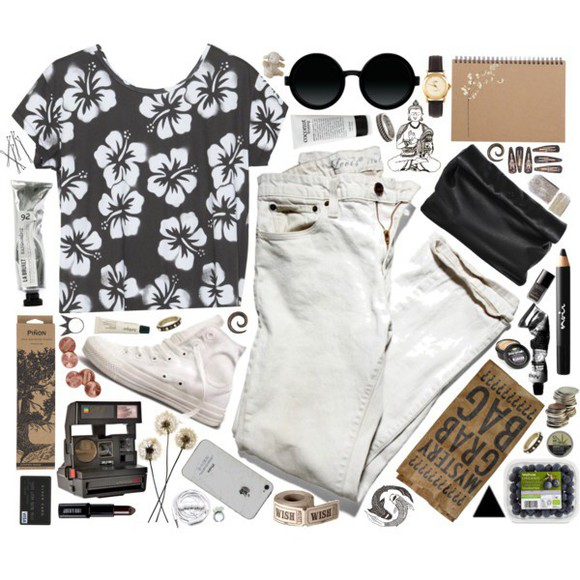 black and white crop tops floral shirt