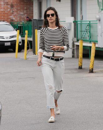 sweater alessandra ambrosio ripped jeans jeans boyfriend jeans stripes striped sweater