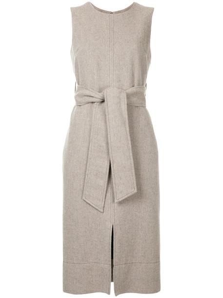 Estnation dress shift dress sleeveless women wool brown