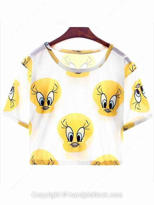 White Round Neck Short Sleeve Duck Print Crop T-Shirt - HandpickLook.com