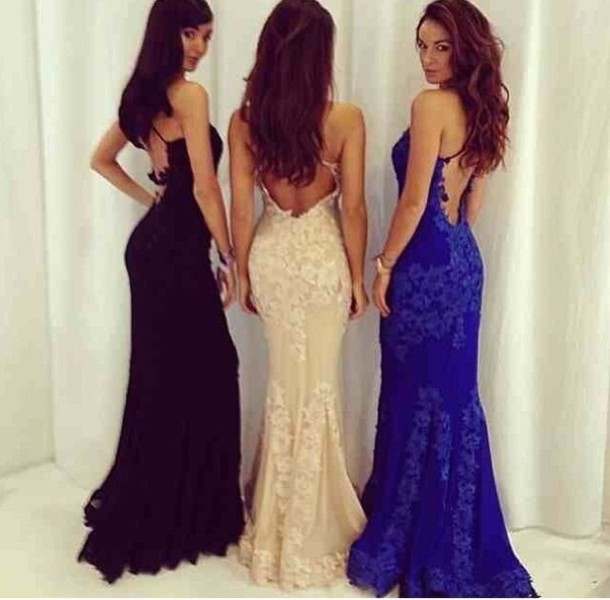 dress, backless dress, lace dress, mermaid prom dress, long, black ...