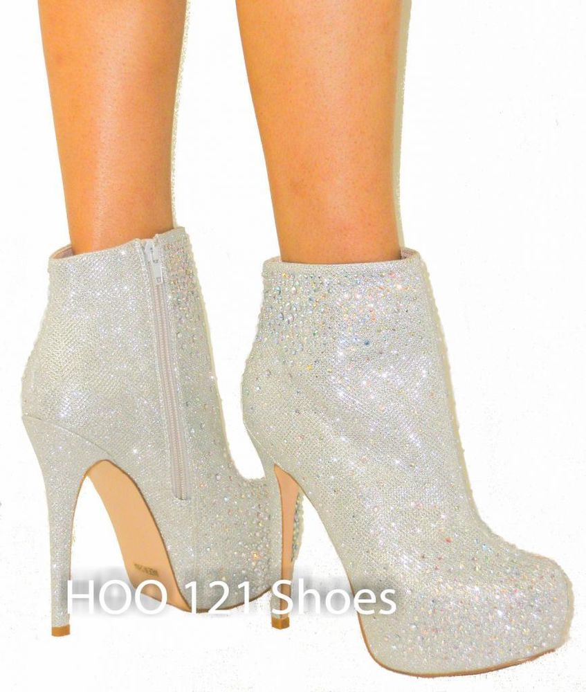 Glitter Rhinestone Ankle Bootie Pump Sky High Stiletto Platform Heel Boot | eBay