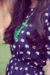 dress,elephant,white,blue dress,cute dress,navy,patterned dress,hipster
