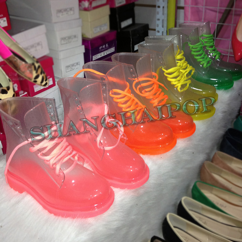 Through Ladies Transparent Rain Boots Neon Lace Up Jelly Crystal ...