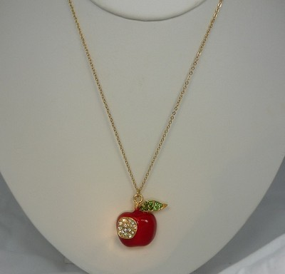Rhinestone red delicious apple with bite apple necklace