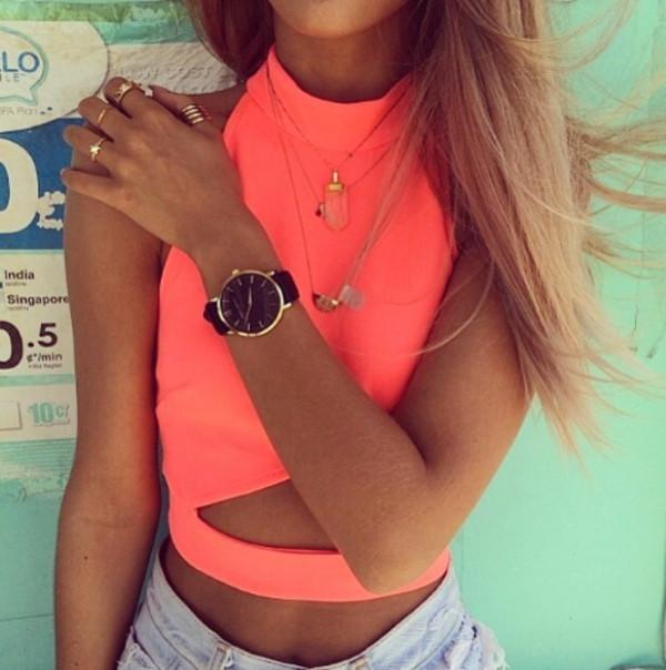 shirt apricot crop tops brandy summer top instagram jewels tank top neon t-shirt summer outfits top