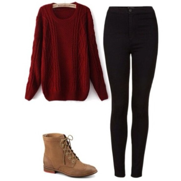 combat boots blouse pretty leggings cute sweaters maroon sweater brown combat boots brown, chestnut, boots, booties, lace up, ankle boots, combat boots, cute, love, adorable, shoes, fashion light brown combat shoes winter sweaters baggy sweater fashion vibe hipster style