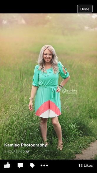 dress aqua dress coral dress short dress long sleeves