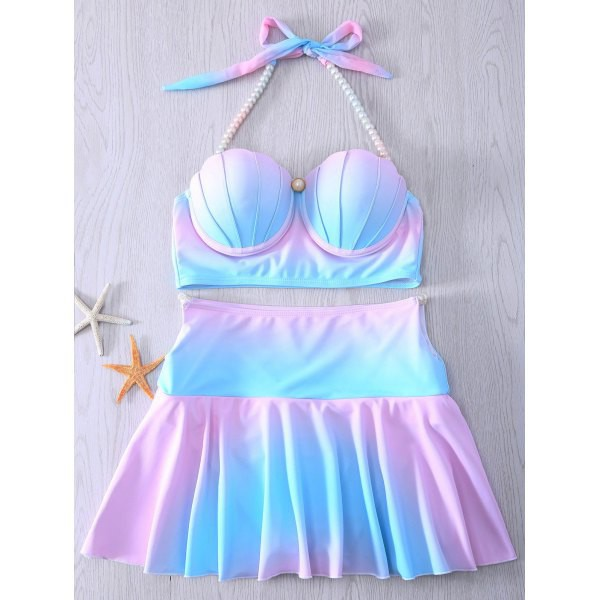 swimwear skirt blue pink kawaii girly mermaid bikini pastel pearl rosewholesale.com rose wholesale