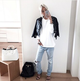 jeans edgy style asian fashion cool black jacket white t-shirt ripped jeans dope killer accessories